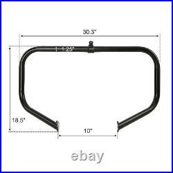Black Highway Engine Crash Bar Footpegs Fit For Harley Road Street Glide 09-21
